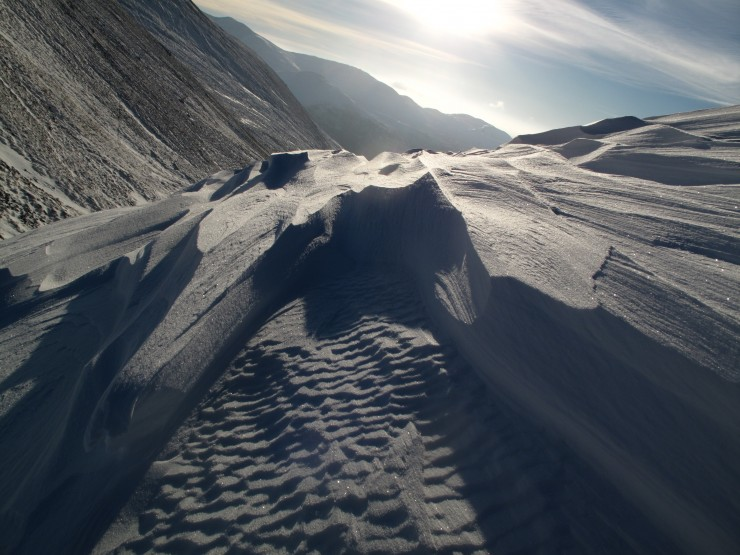 Heavily wind eroded snow