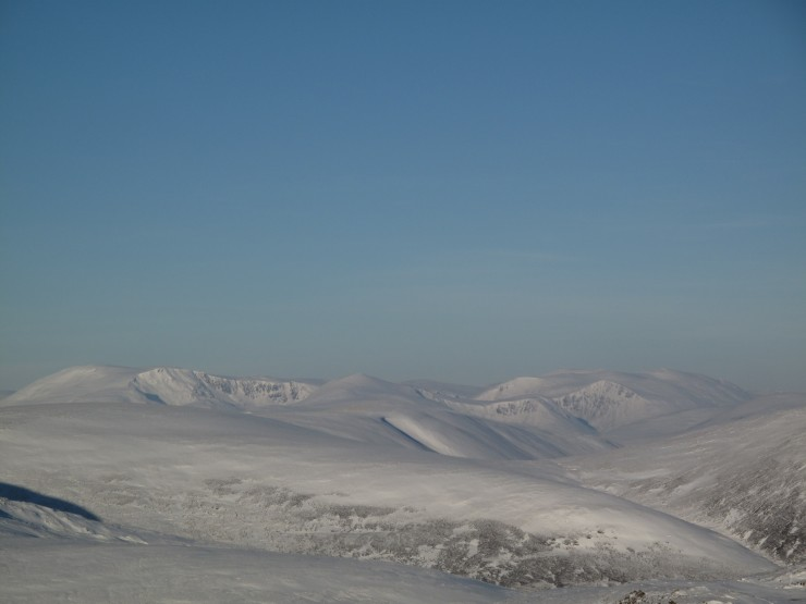 Distant view to Ben Macdui and Cairngorm from Carn nan Sac
