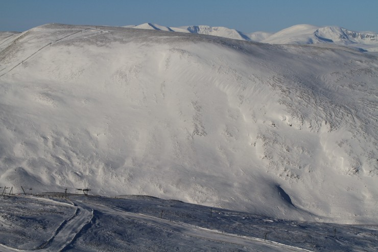 SE aspect of Carn Aosda, Main Cairngorms in the distance.