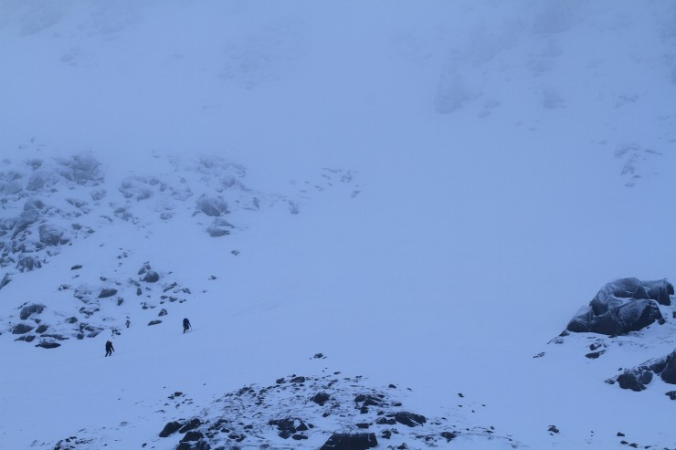 Climbers heading into the gloom in the Southern Sector climb.