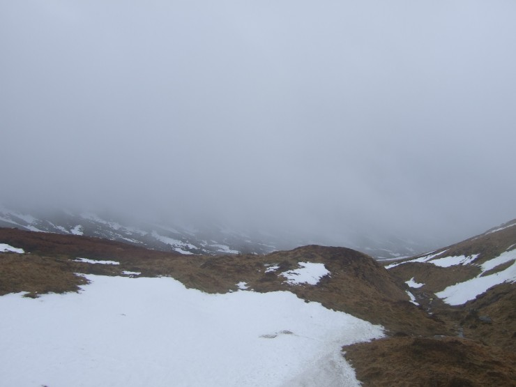 Poor visibility and thawing snowpack today