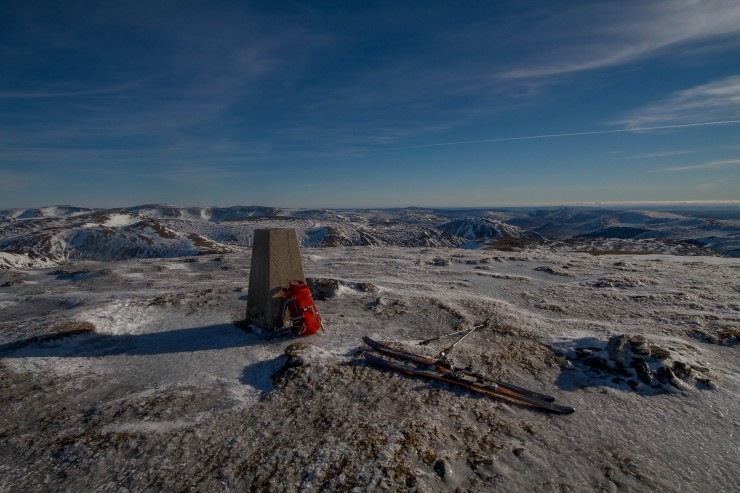 Summit Glas Tulaichean. Typically icy ground on open exposed terrain.