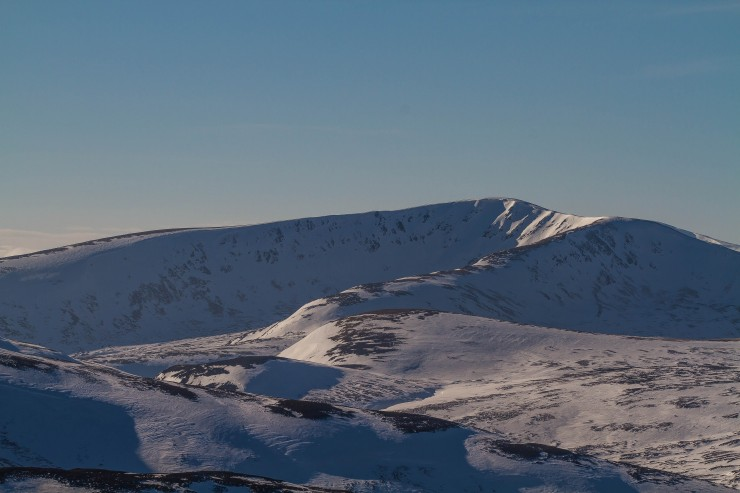 Glas Tulaichean. Still reasonable cover but starting to break through, particularly on ridges.