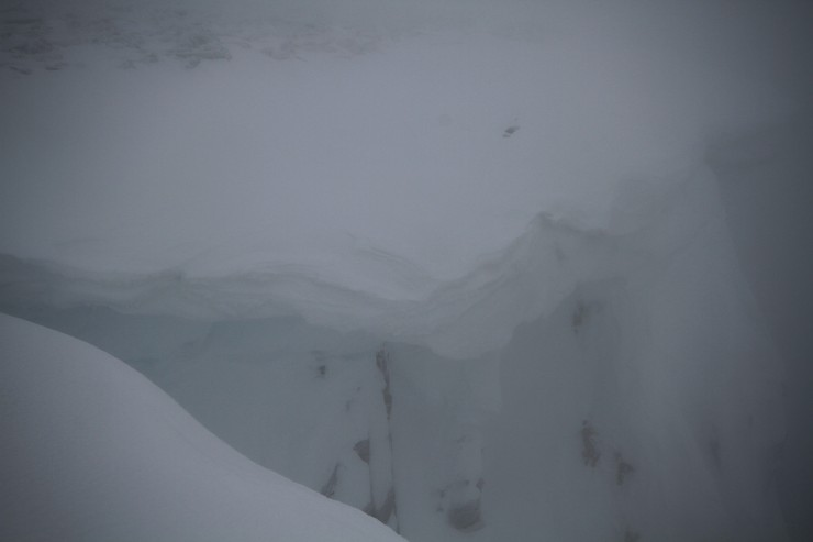 Large cornices exist in some locations. Difficult to scale in these conditions.....but this ones  big!