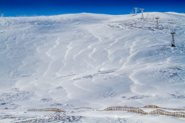 The Tiger at Glenshee Ski Centre. plenty drifting onto this face, it's fences buried.