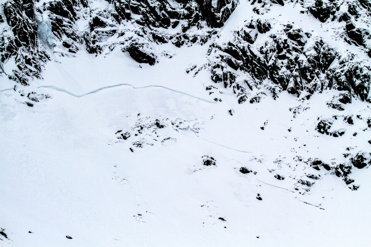 Crownwall under the ice of West Gully.