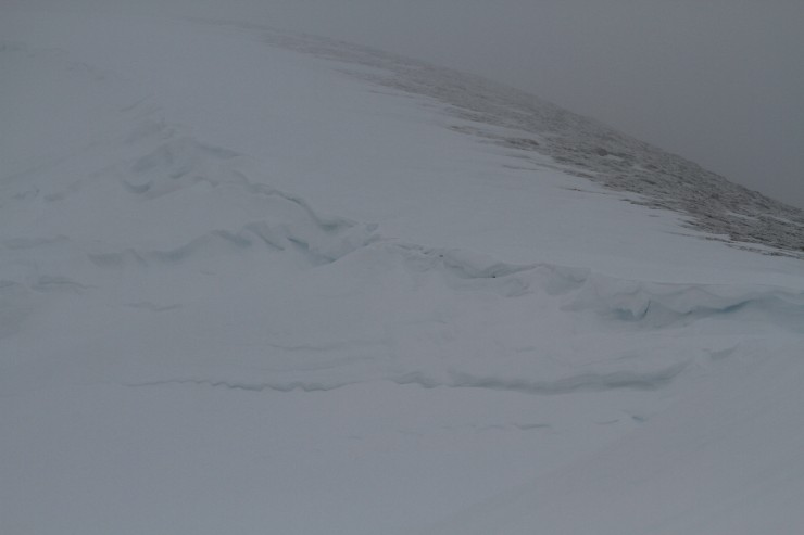 Collapsed cornices in Corrie Fionn.