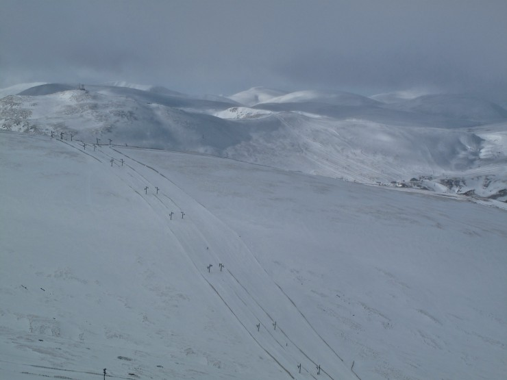 Corrie Fionn, ski area and beyond. E aspects looking white, W aspects, not so pretty!