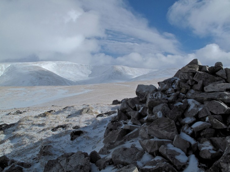 Garbh Corrie and Cairn of Claise. Normally there would be substantial depth in these corries.
