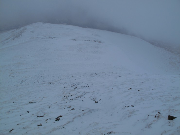 Looking down to Meall Odhar with Corrie Fionn on the right.