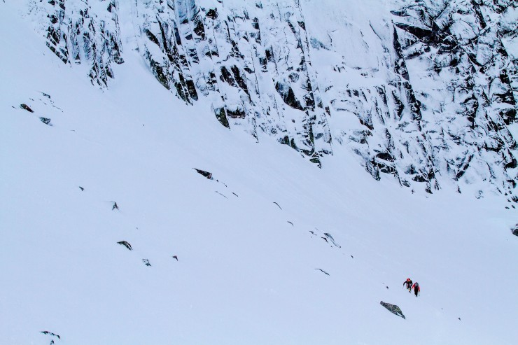 Climbers heading for Parallel A.