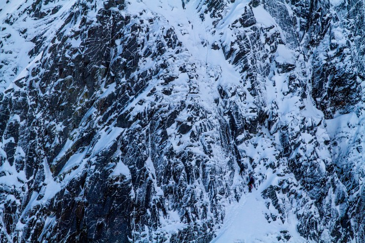 Shadow A Buttress. Climbers on Crux pitch.