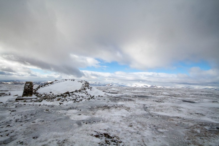 Summit of Glas Maol. Exposed plateau areas were icy.