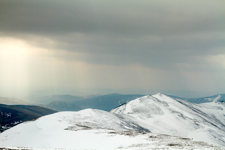 Creag Leacach from Glas Maol. Still possible to ski over after a short walk over Glas Maol.