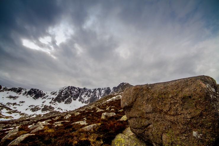 Lochnagar today. Warm in the corrie, +6 at one point.