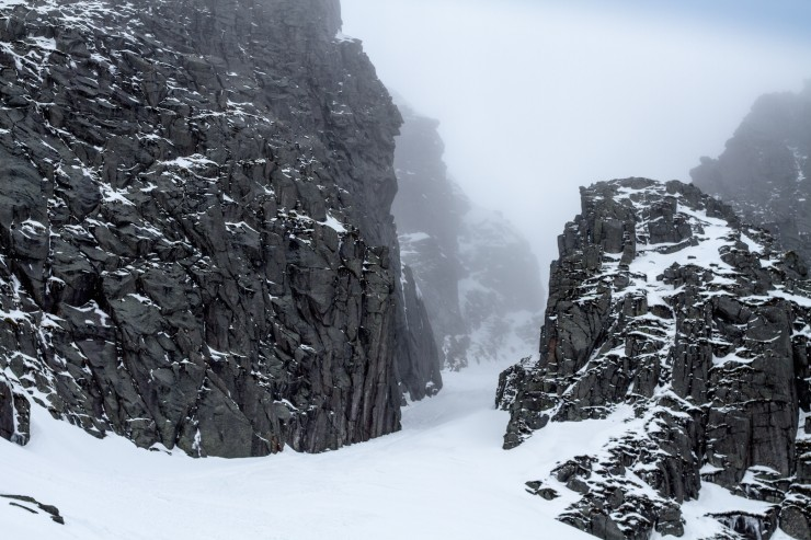 The Black Spout. Unstable snow,falling ice and poor visibility up would have made this a poor choice today.