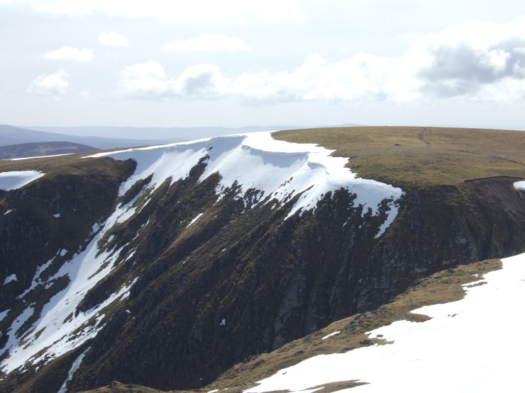 Some large cornices remnants. Little Glas Maol, overlooking Caen Lochan Glen