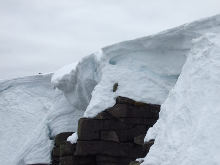 Large chunk of overhanging cornice remnant
