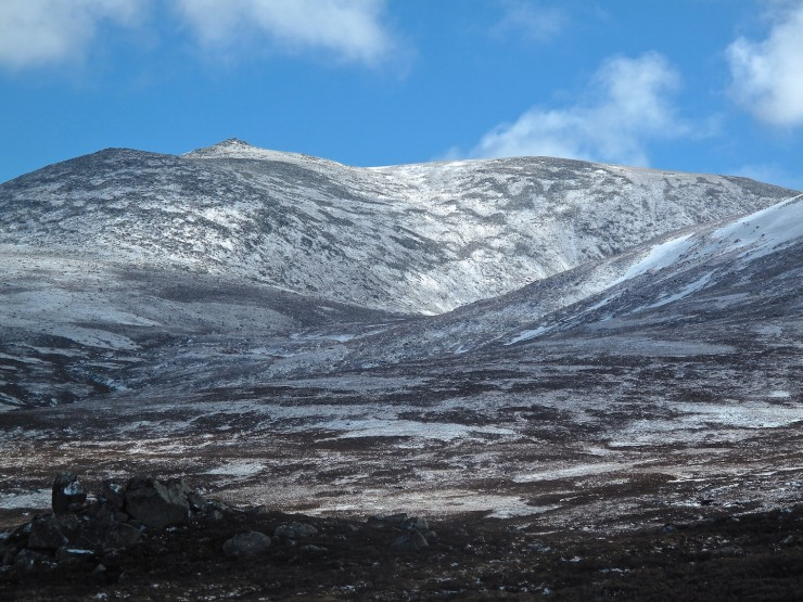 Lochnagar. A dusting of snow, not lasting long in the strong sun.