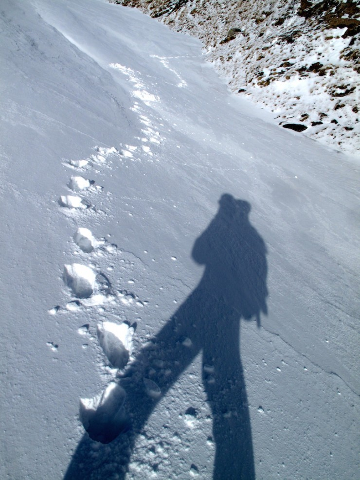 Me and my footprints. A combination of new and older not quite frozen snow.