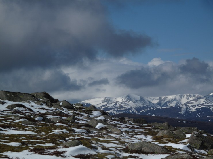Looking back to the main Cairngorms.