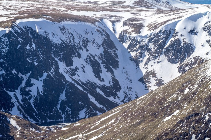 Corrie Kander with the Loch bottom left. Still hanging on to large cornices.