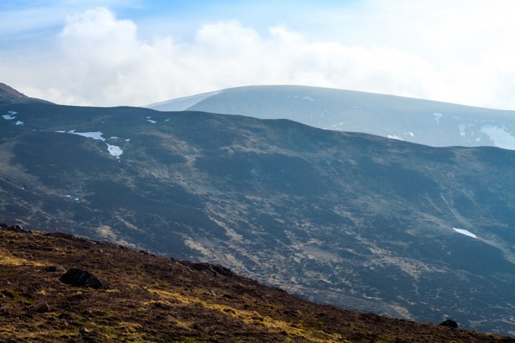 Snow is really down to patches, larger amounts in the Corries.