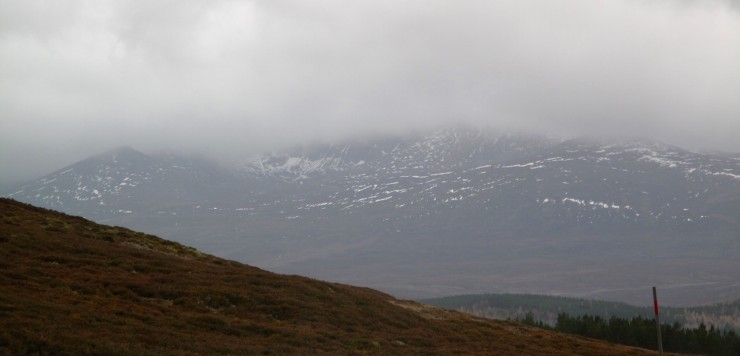 A distant shot of Lochnagar. It was fairly white but has now been stripped back with patches in the gullies.