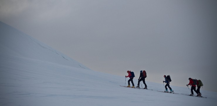 Ski tourers of all abilities were out today.