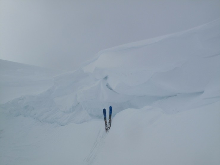 Some large wind features you wouldn't want to ski off in a white-out