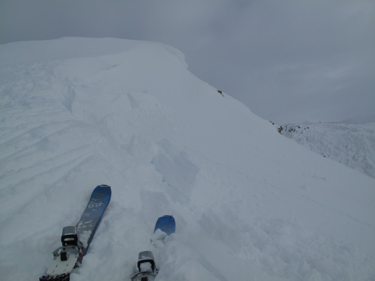 Deep snow & fragile cornices around corrie rims