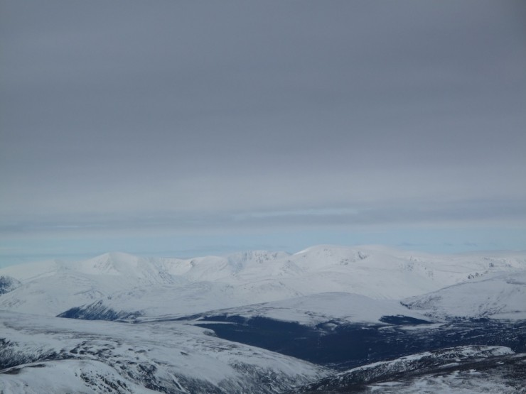 Distant view to blue sky over to the Cairngorms