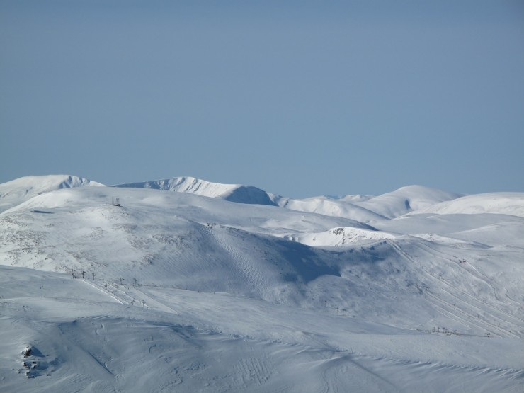 Looking across the ski area to Glas Tulaichean