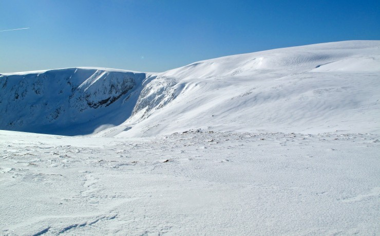 East face of Glas Maol and the increasingly popular ski descent, Banana Couloir
