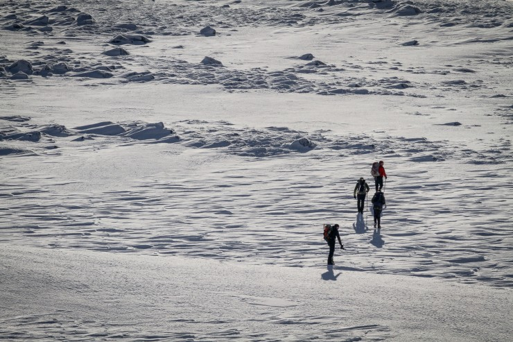 Walkers on the plateau