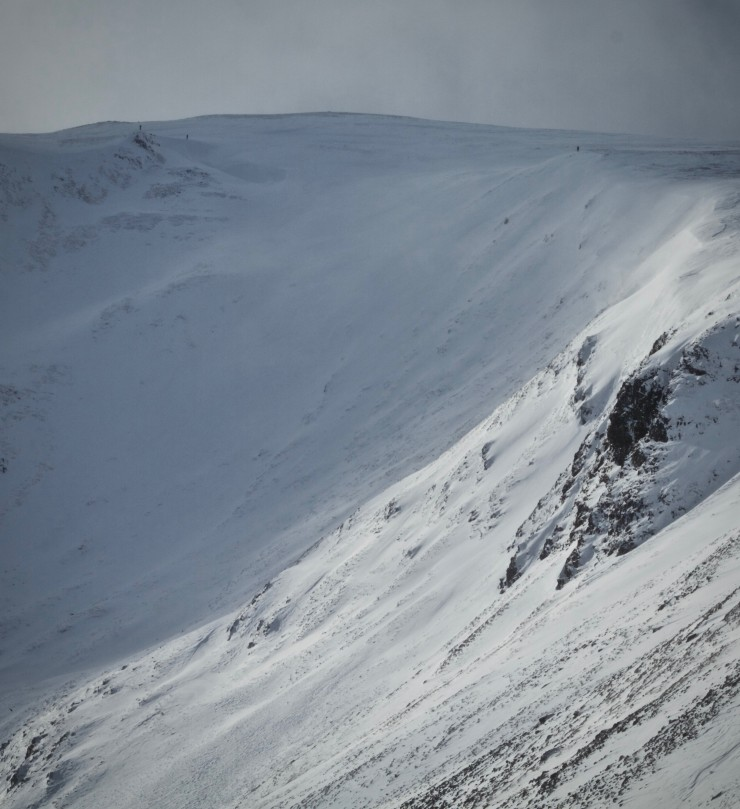 Skiers about to descend Carn Nan Sac.