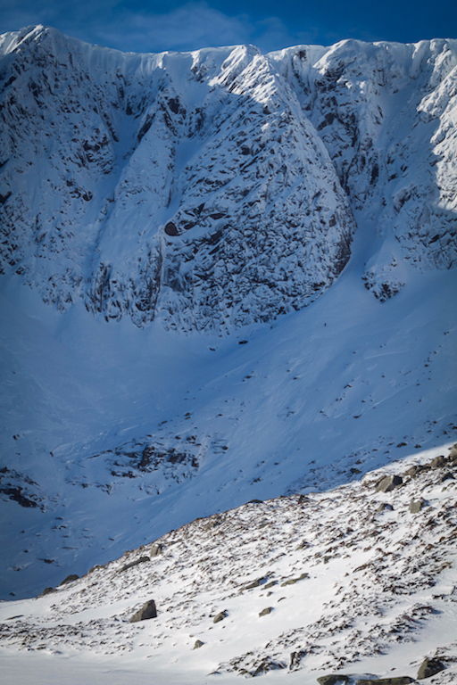 There are plenty of cornices  above the crags.