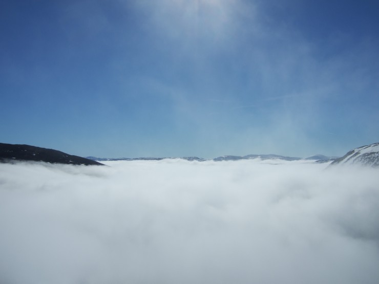 Looking south from Sron Riach into a sea of cloud