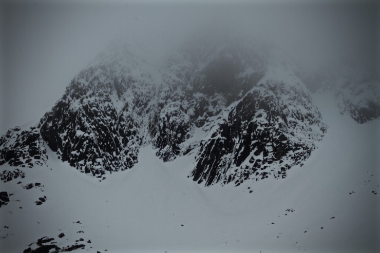 Still snowy on the crags.
