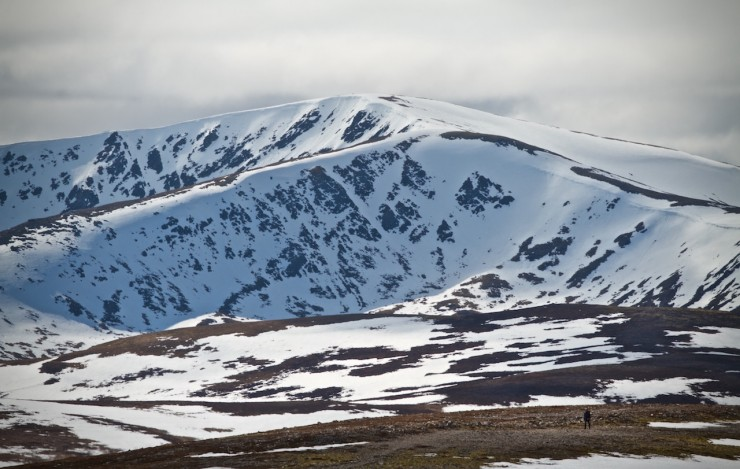 A lone walker in front of Glas Tulaichean.