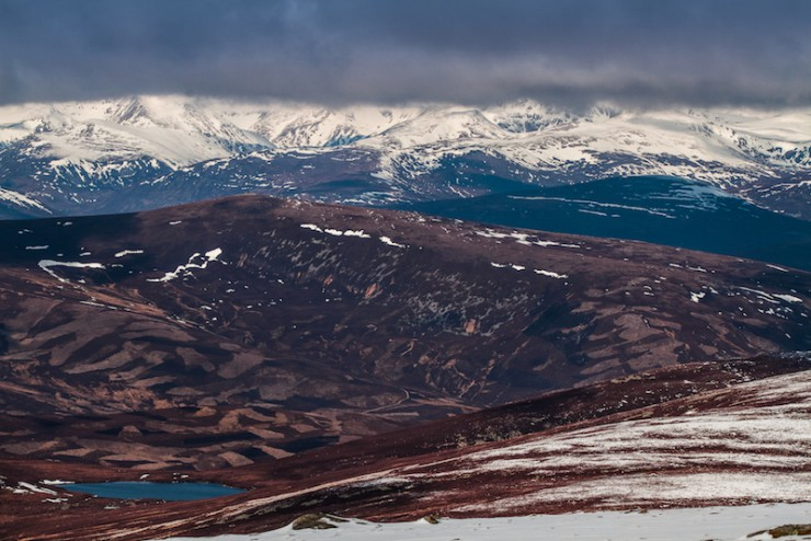 Loch Phadruig and the main Cairngorms.