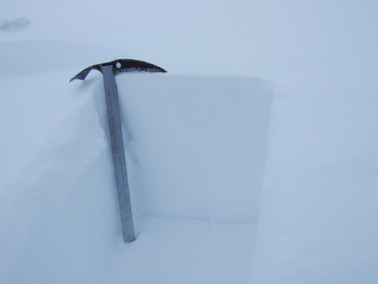 35cm of newly drifted in snow...