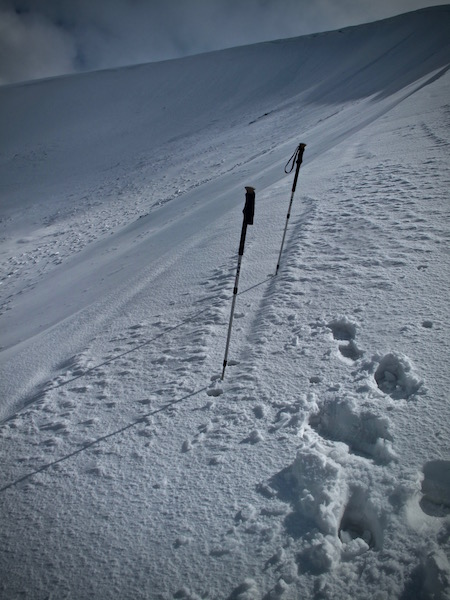 Glide cracks have refilled with new snow.