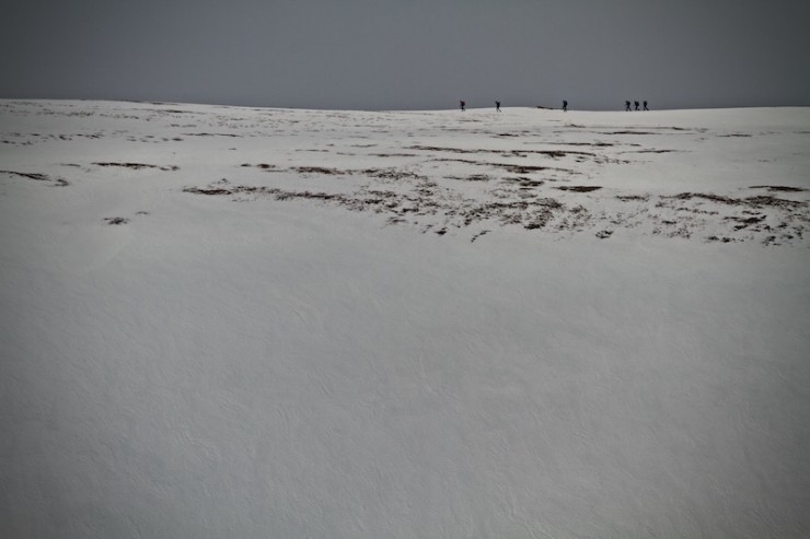Walkers heading for Cairn of Claise.